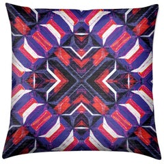 Curitiba Print Garnet Stripes Pillow by Lolita Lorenzo Home Collection