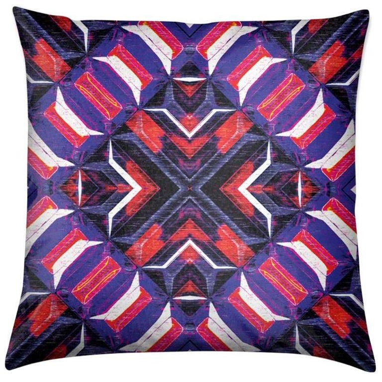 Curitiba Print Garnet Stripes Pillow by Lolita Lorenzo Home Collection For Sale