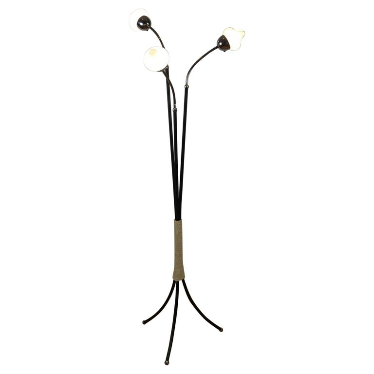 Mid-Century Three-Light Floor Lamp Flexible Arms For Sale
