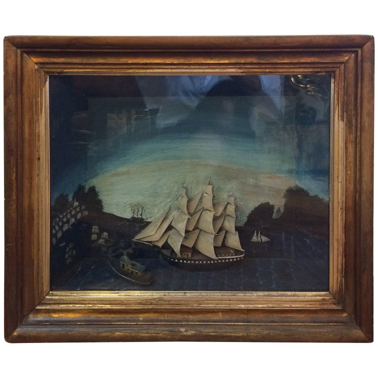 Jewel of an Antique Ship Scene Diorama For Sale