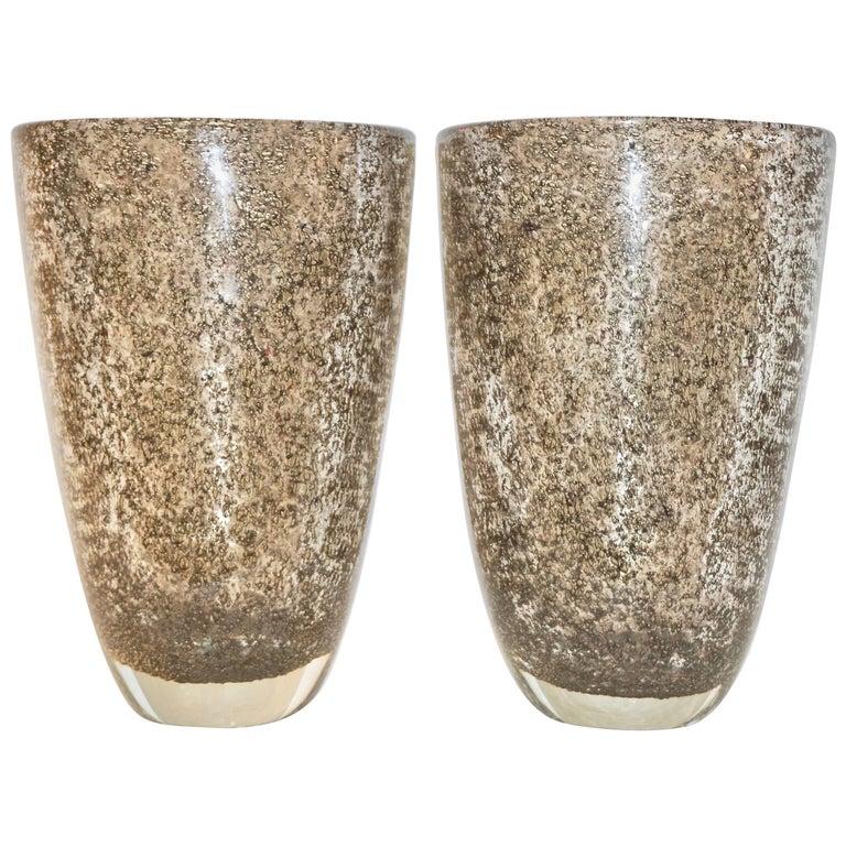 Alberto Dona Italian Pair of Bronze Color Murano Glass Vases with Brass Dust