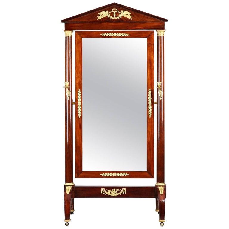 19th Century Empire Mahogany Veneer and Gilt Bronze Psyche Mirror