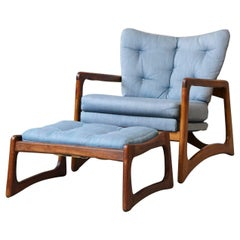 Adrian Pearsall Walnut Lounge Chair and Matching Ottoman