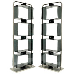 Pair of 1970s Perspex Lucite and Brushed Steel Shelving Units Étagères