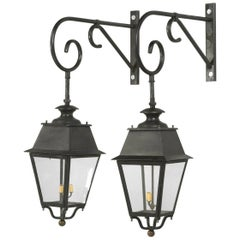 Pair of Antique French Lanterns with Brackets and Handmade Wavy Glass