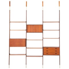 Italian Teak and Brass Floor to Ceiling Wall Unit -Bookshelf, 1950s