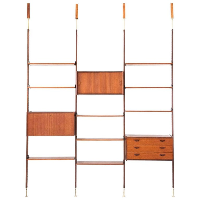 Italian Teak and Brass Floor to Ceiling Wall Unit -Bookshelf, 1950s  For Sale