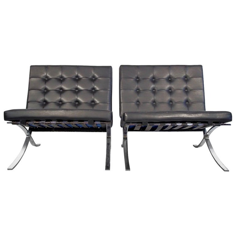Pair of Barcelona Black Leather Lounge Chairs by Ludwig Mies van der Rohe