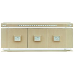 Lalique Maison Ivory Ash Sideboard or Credenza with Raisins Crystal Panel Accent
