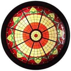 Late 20th Century Large Stained-Glass Chandelier