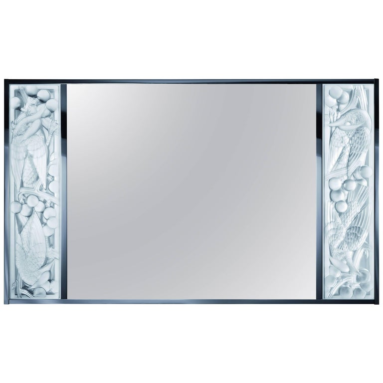 Lalique Clear Crystal Merles et Raisins Wall Mirror For Sale