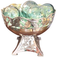 Beautiful Silver Plate Vintage Compote with Aqua Floats