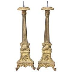 Pair of 19th Century Italian Giltwood Candlesticks