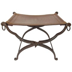 Arts & Crafts Wrought Iron and Leather Campaign Stool att. to Morgan Colt