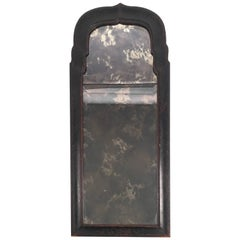 Early Queen Anne Black Japanned Chinoiserie Mirror