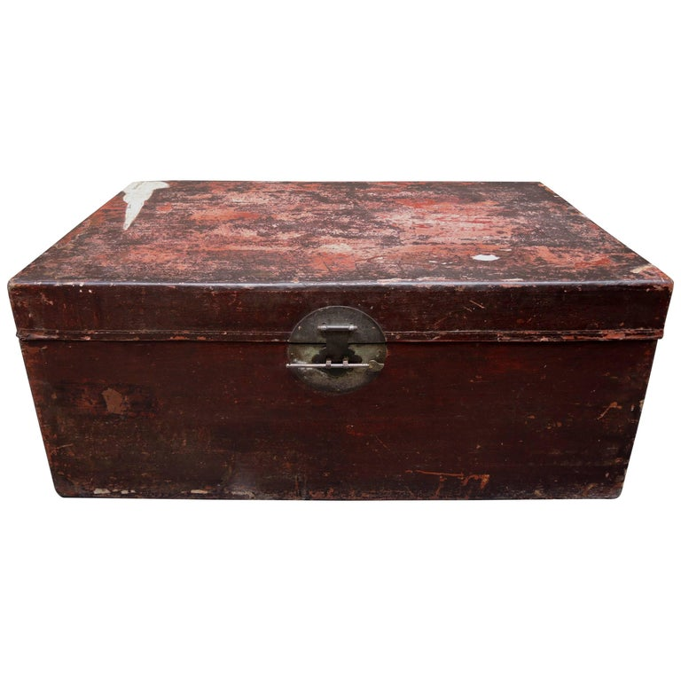 Antique Chinese Lacquered Leather Trunk