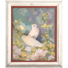 Art Deco Gouache Painting of Doves in a Floral Landscape