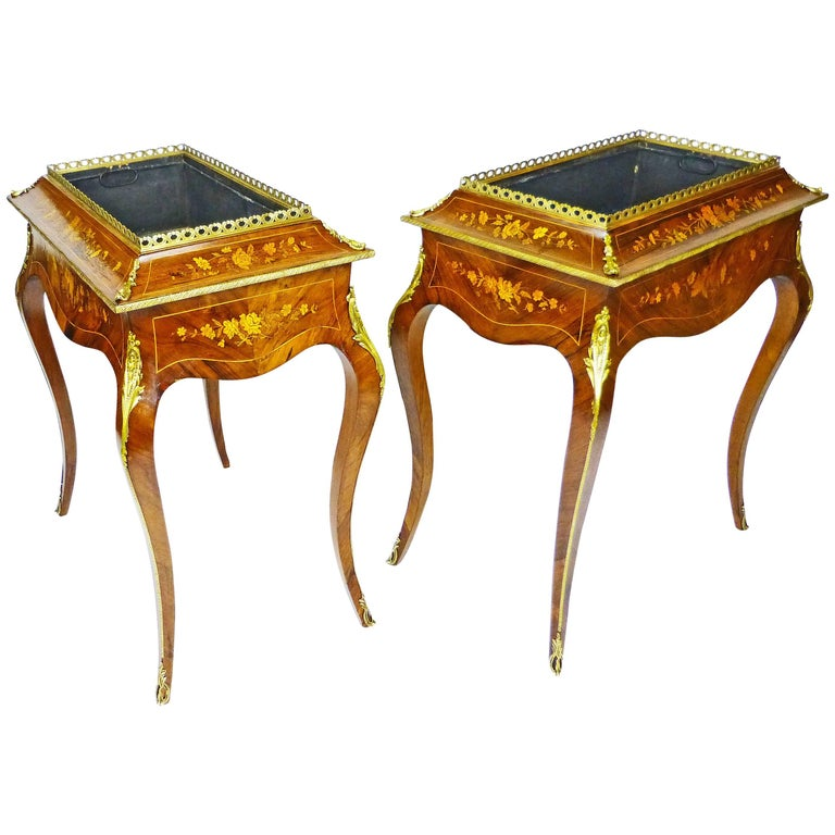 Jardiniere Pair 19th Century French Louis XV Style Planters Rosewood Marquetry