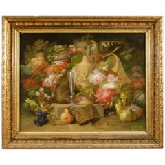 19th Century French Still Life Painting Oil on Canvas with Golden Frame