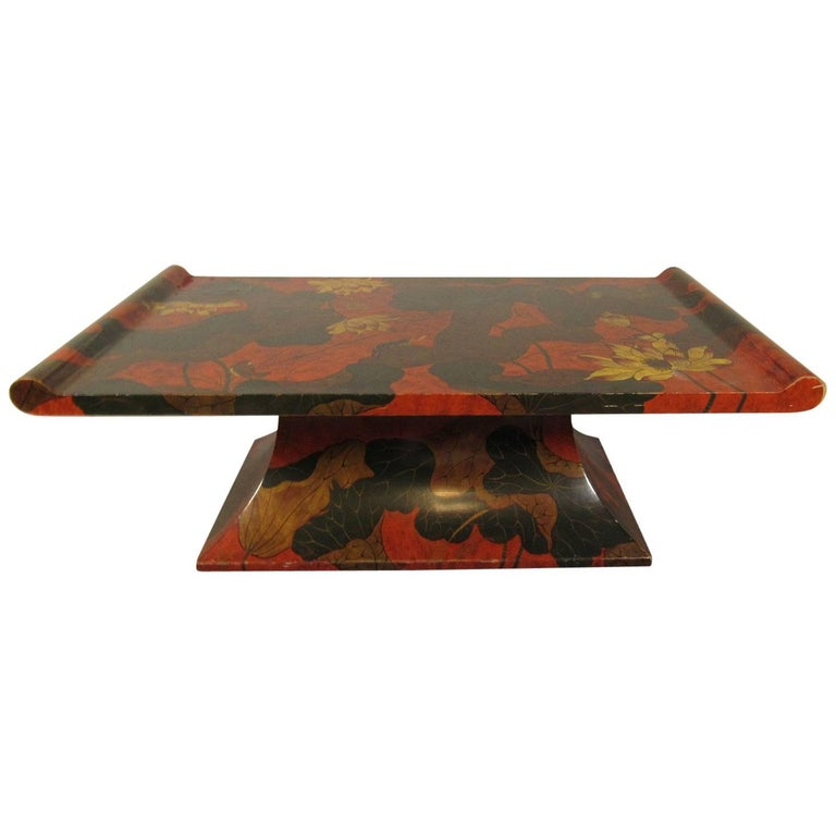 Asian Red Lacquer Low Table Decorated with Flora and Fauna