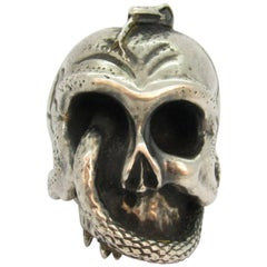 Antique Miniature Heavy Sterling Silver Skull with Snake Form Sculpture