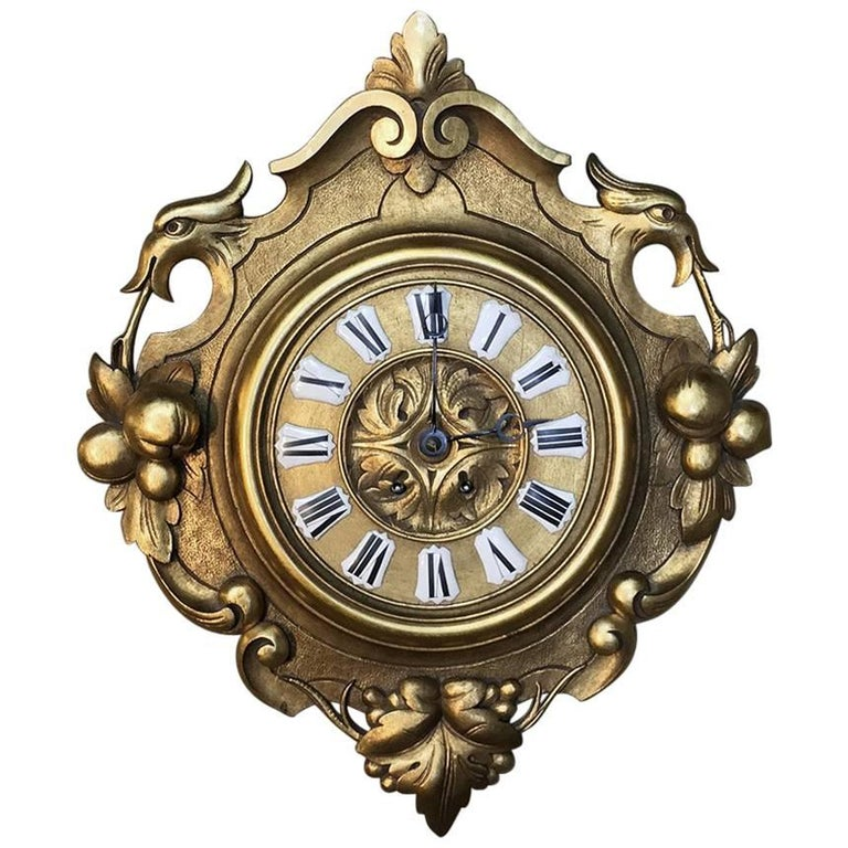 19th Century Swiss Giltwood Wall Clock Cartel
