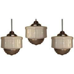 Three Large Vintage Schoolhouse Style Electric Fixtures