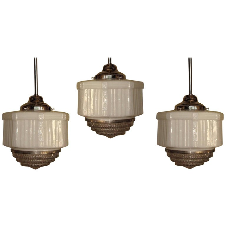 Large Vintage Schoolhouse Style Electric Fixtures