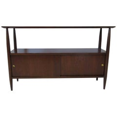 Walnut Mid-Century Console, Sever or Entertainment Center