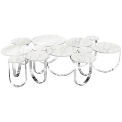 Contemporary Design Coffee Table in Marble and Polished Stainless Steel