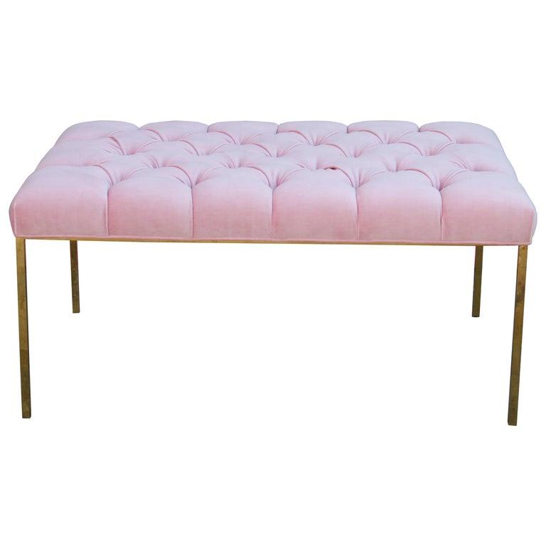 Modern Rectangular Bench with a Brass Frame in Tufted Light Pink Velvet