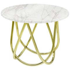 Side Table Modern Circular Marble White Brass Italian Limited Edition Design