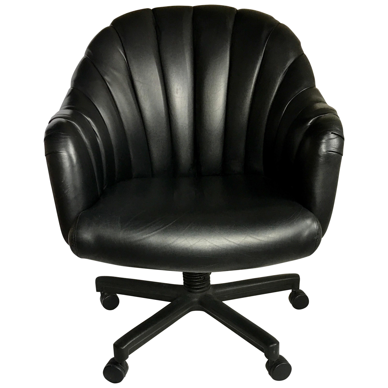 1980s Hollywood Regency Style Channel Leather Swivel Desk Chair