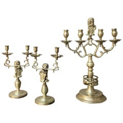Set of Three 19th Century Bronze Candelabra