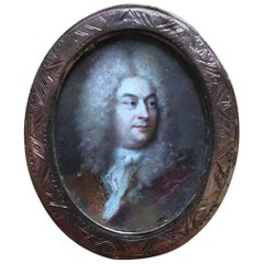 18th Century French Portrait Miniature in Gold Frame