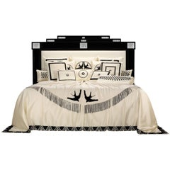 Lalique Maison Black Laquer Bed Frame with Masque De Femme Crystal Panel Accents