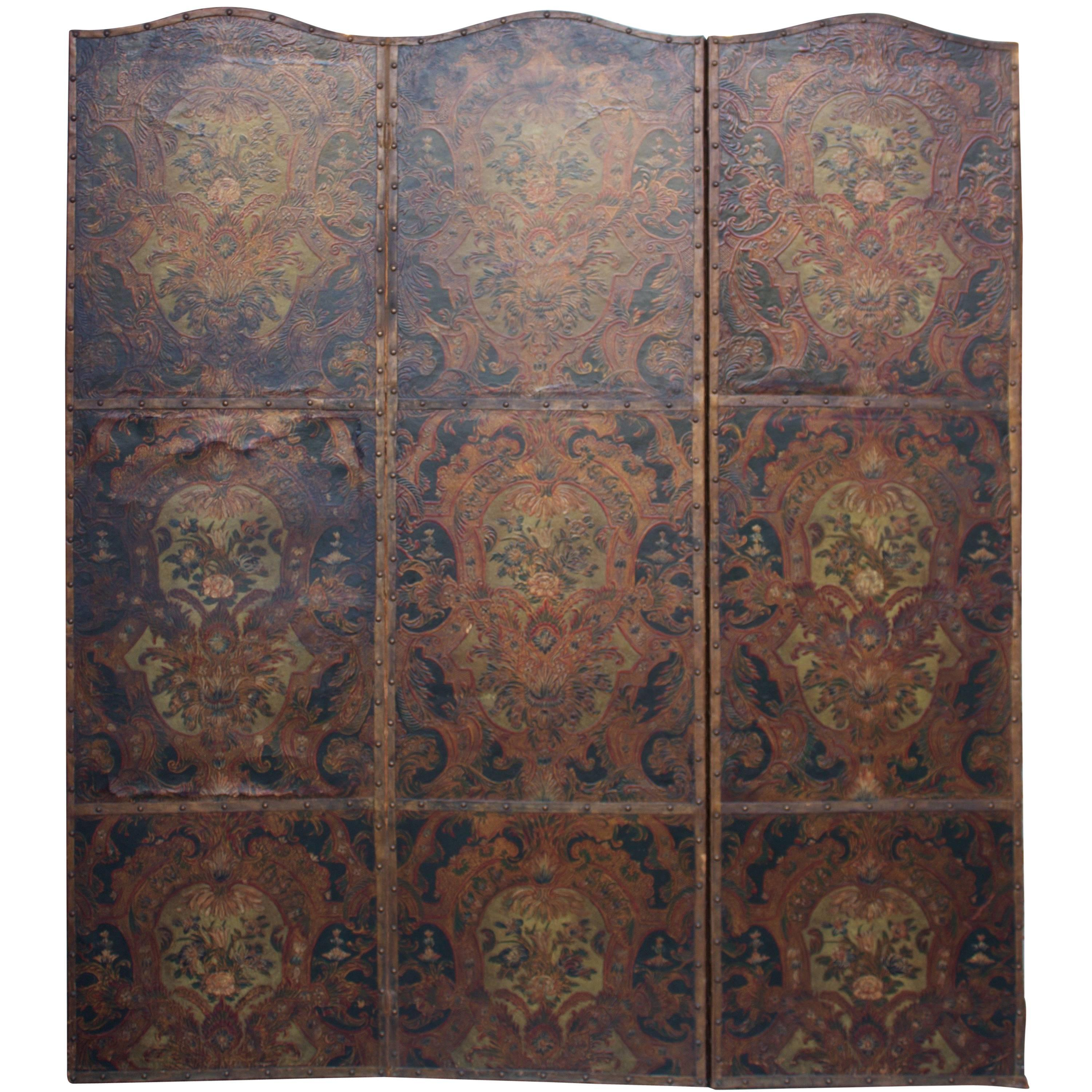 18th Century Three Panel Polychrome Cordovan Leather Screen