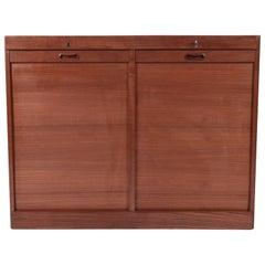 Danish Mid-Century Teak Tambour Door Storage Cabinet