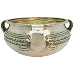 F. Walter Lawrence Arts and Crafts Period Hand-Hammered Sterling Silver Bowl