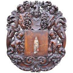 17th Century Carved Dutch Armorial Panel, Estate of Late Dr Yvonne Hackenbroch