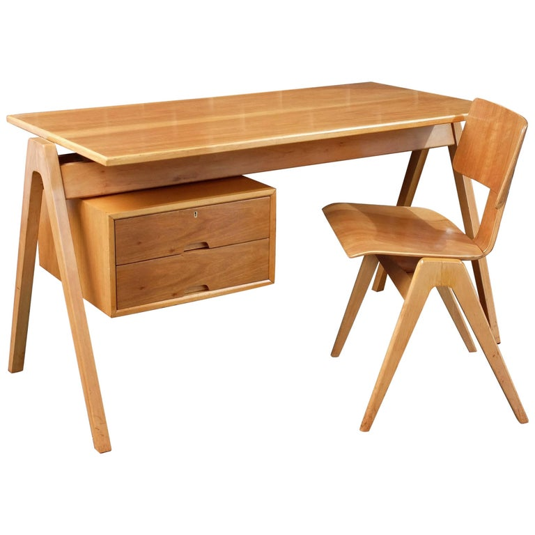 Robin Day Desk by Hille and Matching Hillestak Chair British 1950's
