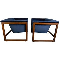 Pair of Floating Cube Chairs by Milo Baughman
