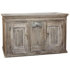 19th Century, Rustic Swedish Stripped Oak Buffet