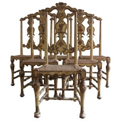 Superb Group of Six Dining Chairs Attributed to Pierre Lotier