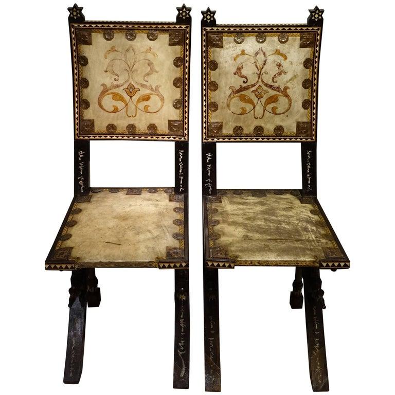 Pair of Chairs by Carlo Bugatti Italian Designer For Sale