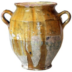 Antique French Country Pottery Confit Jar Pot Provence Faience Vase