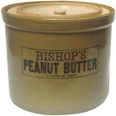 """Large 19th Century """"Bishops Peanut Butter"""" Crock with Lid"""
