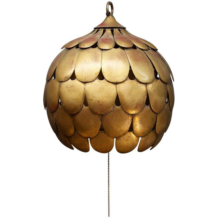 Vintage Italian Faux Gilt Dragon Scale Pendant Lamp