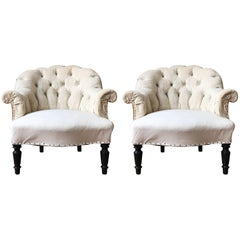Pair of Small French Nap III Tufted Armchairs