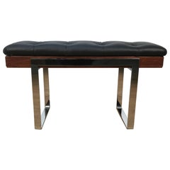 Milo Baughman Leather and Rosewood Bench